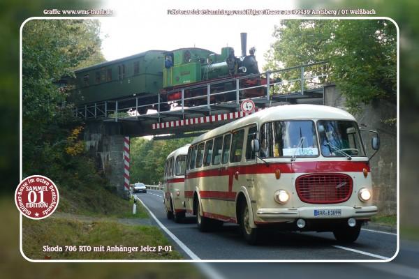 """Blechschild Bus Nr.1 """"Skoda 706 RTO mit Anhänger"""""""
