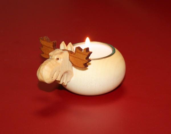 kleiner Holz-Elch mit Teelichthalter
