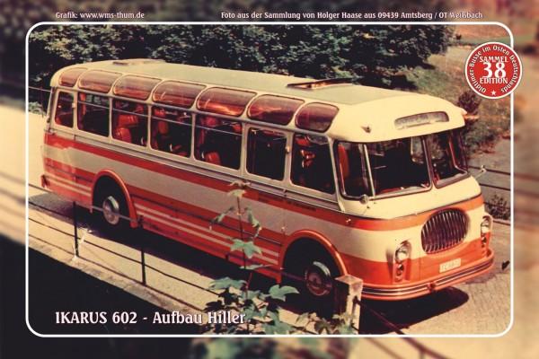 "Blechschild Bus Nr. 38 ""Ikarus 602 - Aufbau Hiller"""