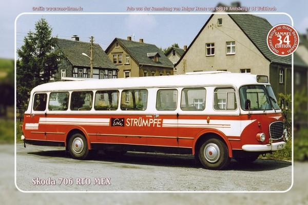 "Blechschild Bus Nr. 34 ""Skoda 706 RTO MEX"""