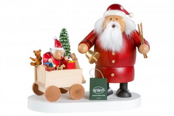 Räuchermann Weihnachtsmann mit Bollerwagen, 21 cm, limitiert auf 700 Stück