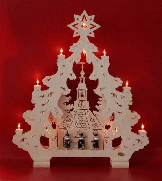 Lichterspitze Baum 2-D Seiffner Kirche mit Figuren