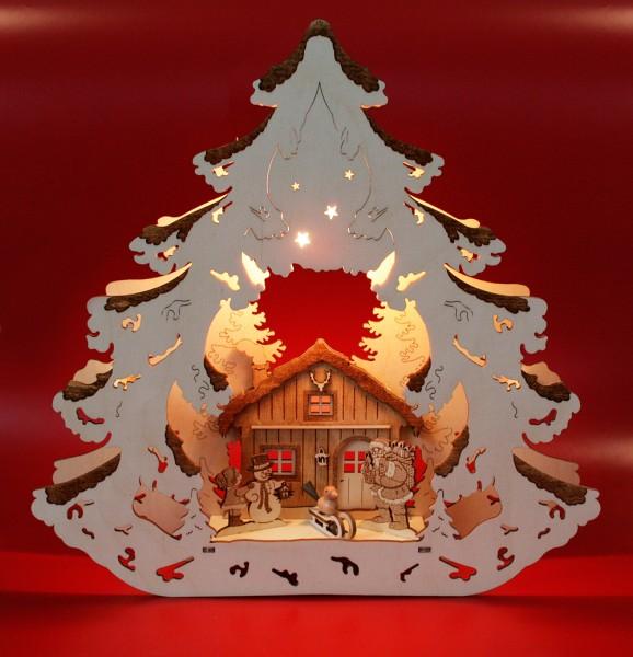 Fensterbild Baum beleuchtet, Forsthaus graviert