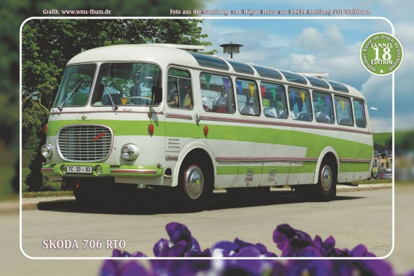 """Blechschild Bus Nr.18 """"Skoda 706 RTO"""""""
