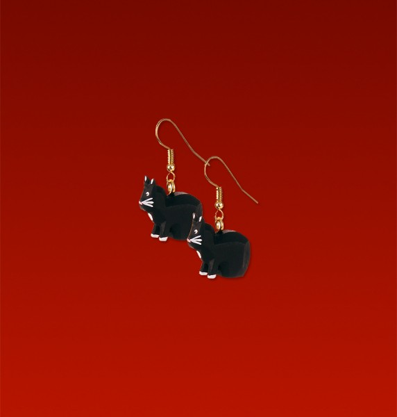 """Ohrringe """"Katze schwarz"""" im schwarzen Schmucketui blei- und nickelfrei"""