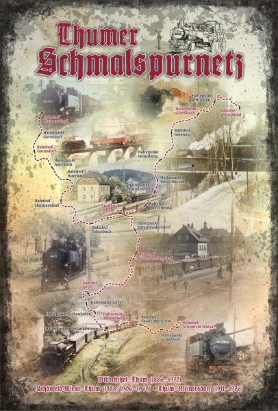 "Blechschild ""Thumer Schmalspurnetz"""